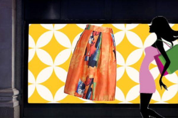 moda autunno:gonna stampa arancione