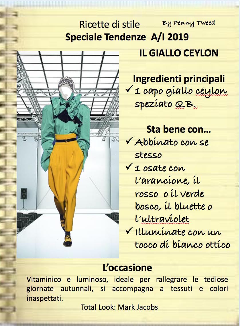 TENDENZE 2019: GIALLO CEYLON