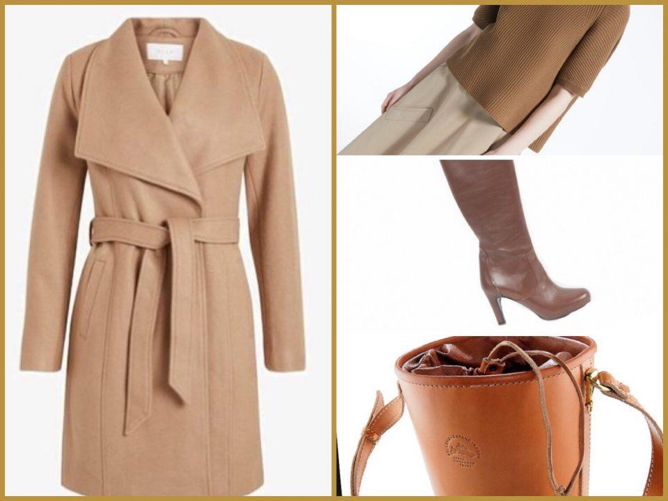 cappotto cammello a vestaglia abbinamento classico