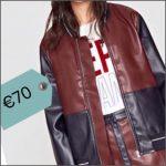 La giacca in ecopelle bicolore