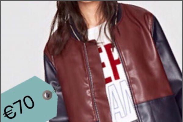 giacca ecopelle bicolore