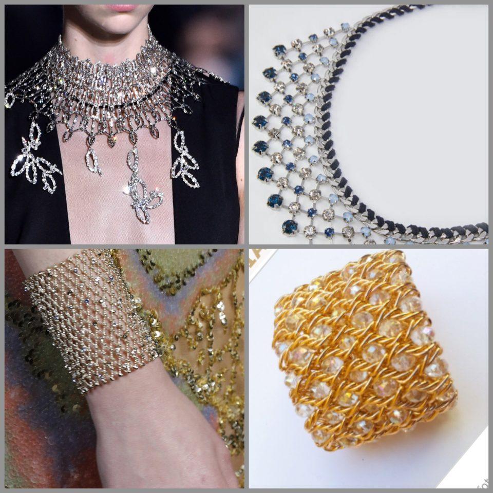 dettagli dall'haute couture gioielli maglia metallica